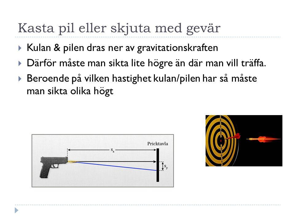 Kasta pil eller skjuta med gevär  Kulan & pilen dras ner av gravitationskraften  Därför måste man sikta lite högre än där man vill träffa.  Beroend