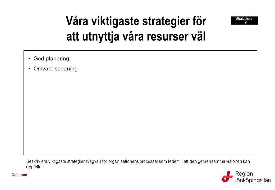 Qulturum Våra viktigaste strategier för att utnyttja våra resurser väl Beskriv era viktigaste strategier (vägval) för organisationens processer som le