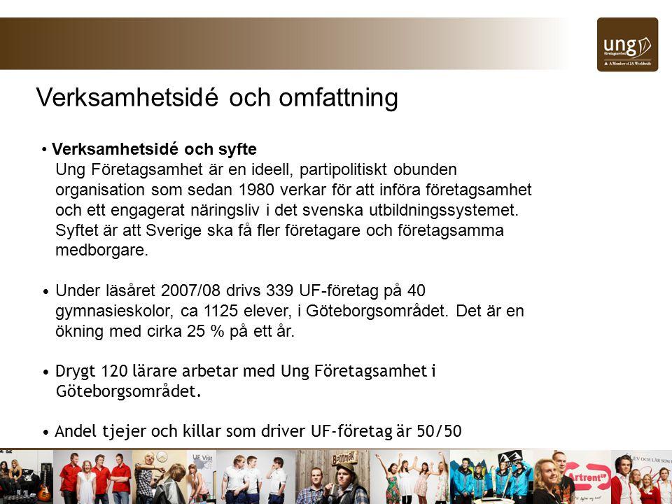 Verksamhetsidé och omfattning Verksamhetsidé och syfte Ung Företagsamhet är en ideell, partipolitiskt obunden organisation som sedan 1980 verkar för att införa företagsamhet och ett engagerat näringsliv i det svenska utbildningssystemet.