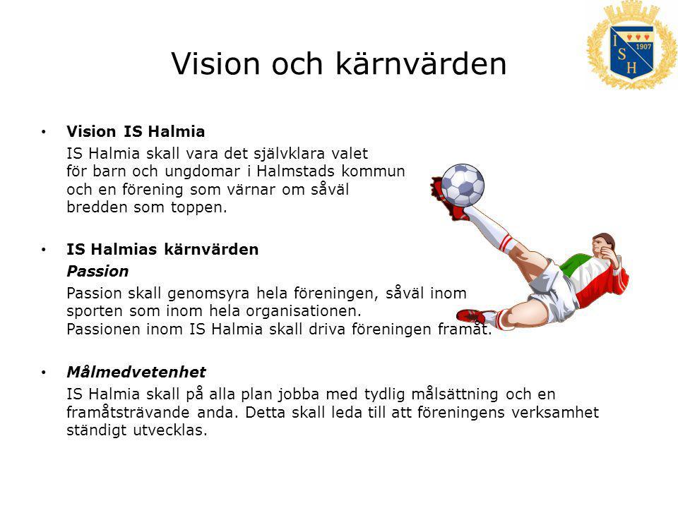 Vision och kärnvärden Vision IS Halmia IS Halmia skall vara det självklara valet för barn och ungdomar i Halmstads kommun och en förening som värnar om såväl bredden som toppen.