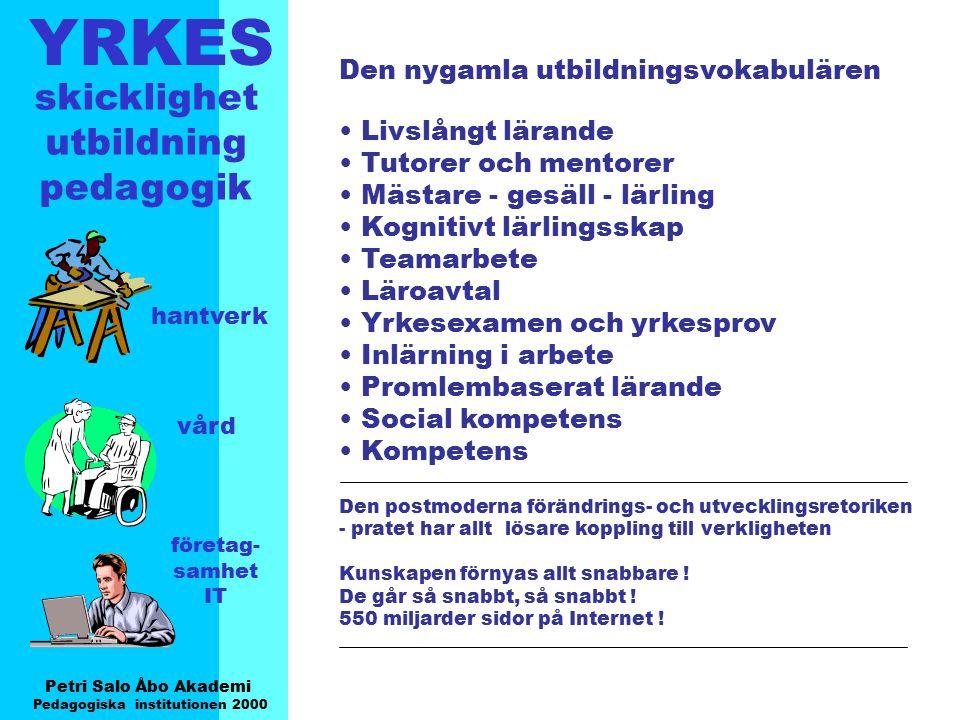 YRKES Petri Salo Åbo Akademi Pedagogiska institutionen 2000 skicklighet utbildning pedagogik hantverk vård företag- samhet IT Den nygamla utbildningsv