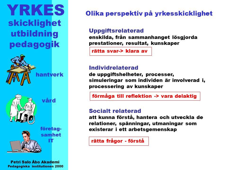 YRKES Petri Salo Åbo Akademi Pedagogiska institutionen 2000 skicklighet utbildning pedagogik hantverk vård företag- samhet IT Olika perspektiv på yrke