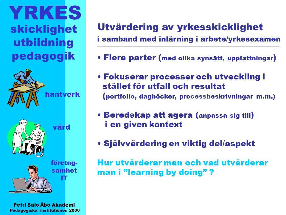 YRKES Petri Salo Åbo Akademi Pedagogiska institutionen 2000 skicklighet utbildning pedagogik hantverk vård företag- samhet IT Utvärdering av yrkesskic