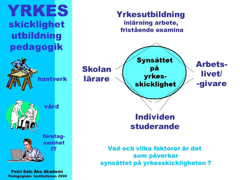 YRKES Petri Salo Åbo Akademi Pedagogiska institutionen 2000 skicklighet utbildning pedagogik hantverk vård företag- samhet IT Synsättet på yrkes- skic