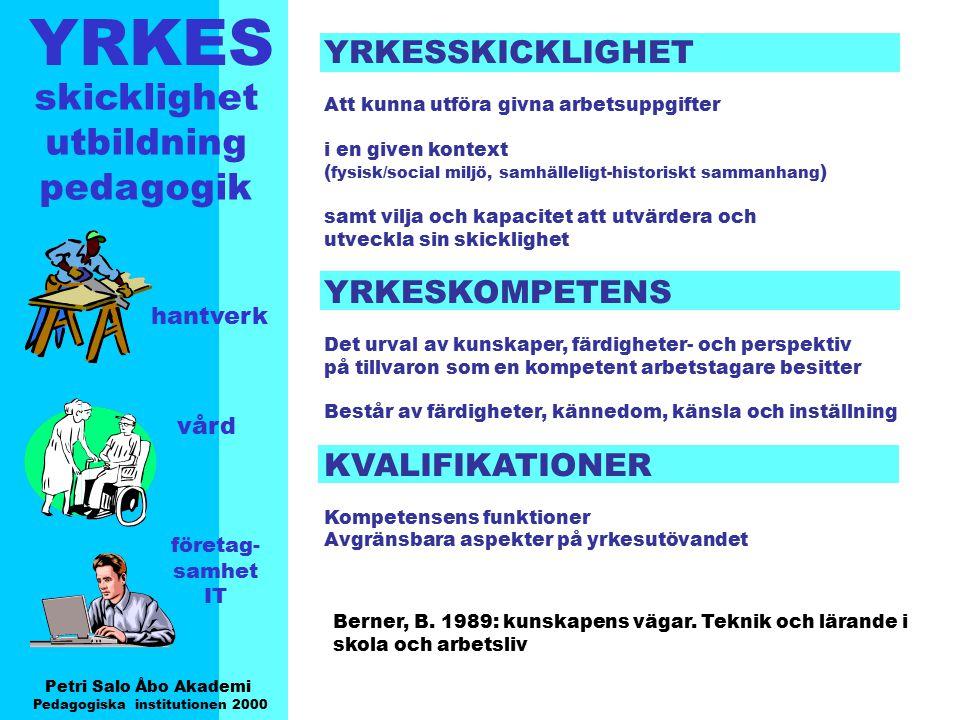 YRKES Petri Salo Åbo Akademi Pedagogiska institutionen 2000 skicklighet utbildning pedagogik hantverk vård företag- samhet IT YRKESSKICKLIGHET Att kun