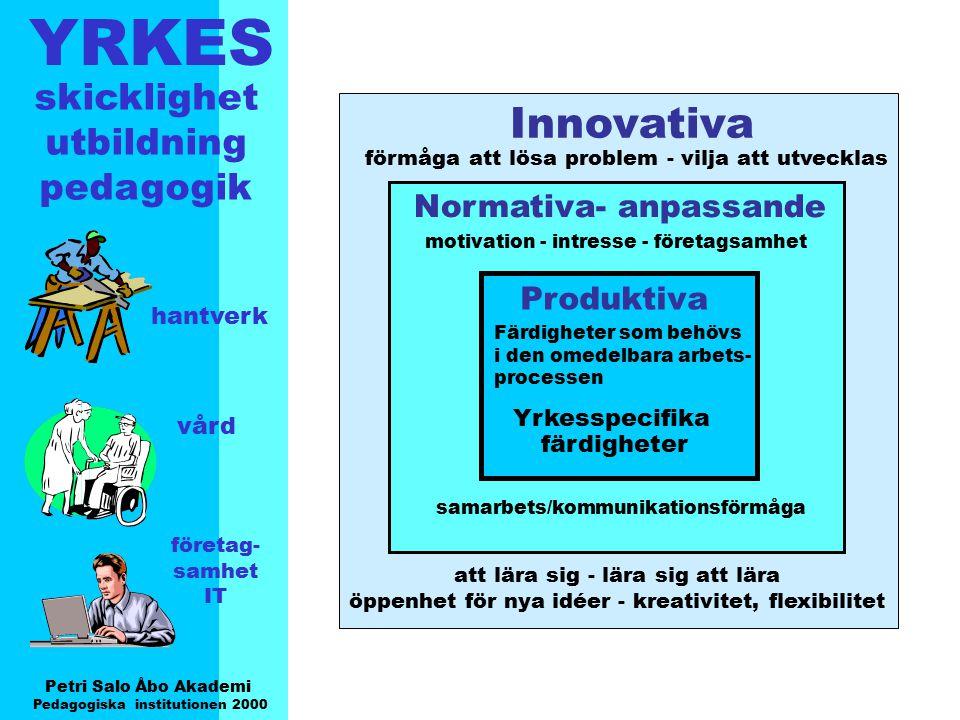 YRKES Petri Salo Åbo Akademi Pedagogiska institutionen 2000 skicklighet utbildning pedagogik hantverk vård företag- samhet IT Produktiva Färdigheter s