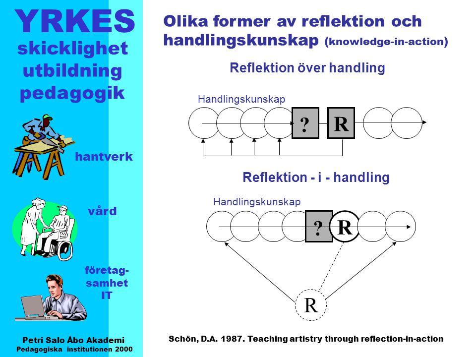 YRKES Petri Salo Åbo Akademi Pedagogiska institutionen 2000 skicklighet utbildning pedagogik hantverk vård företag- samhet IT R ? ? R Reflektion över