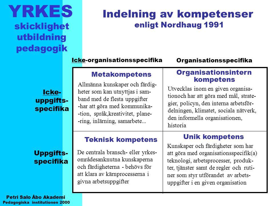 YRKES Petri Salo Åbo Akademi Pedagogiska institutionen 2000 skicklighet utbildning pedagogik Organisationsspecifika Icke-organisationsspecifika Metako