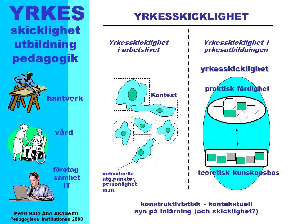 YRKES Petri Salo Åbo Akademi Pedagogiska institutionen 2000 skicklighet utbildning pedagogik hantverk vård företag- samhet IT Vad kännetecknar verksamhet och inlärning i en naturlig kontext .