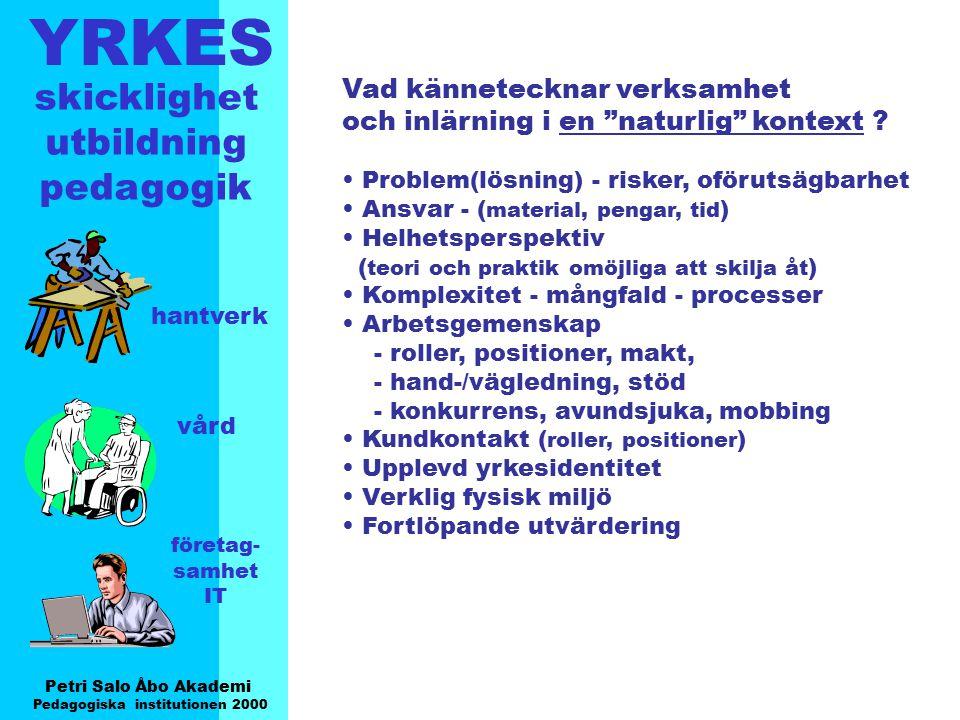 YRKES Petri Salo Åbo Akademi Pedagogiska institutionen 2000 skicklighet utbildning pedagogik hantverk vård företag- samhet IT Vad kännetecknar verksam