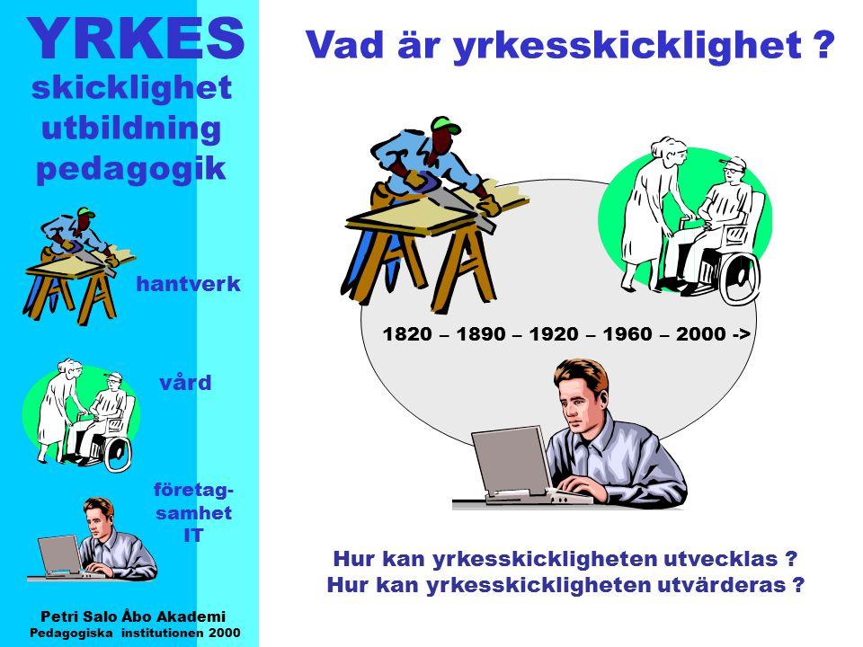 YRKES Petri Salo Åbo Akademi Pedagogiska institutionen 2000 skicklighet utbildning pedagogik hantverk vård företag- samhet IT Två perspektiv på yrkesskicklighet (kunskaper och färdigheter?) StatisktDynamiskt beståendeunder ständig utveckling avgräns-/definierbargår ej att entydigt avgränsa och definiera specifikt, struktureradbredbasigt, otydligt färdiga svar/lösningarmånga öppna frågor/ få färdiga lösningar kan förmedlas i skolankan bara delvis förmedlas av lärarei skolan av lärare oberoende av kontexten/beroende av kontexten/sammanhanget oberoende av värdenberoende av värdenoch värderingar