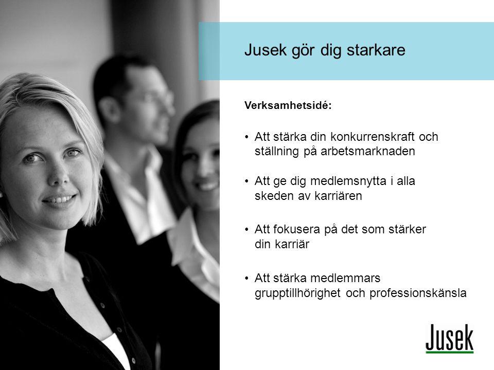 Jusek gör dig starkare Verksamhetsidé: Att stärka din konkurrenskraft och ställning på arbetsmarknaden Att ge dig medlemsnytta i alla skeden av karriä