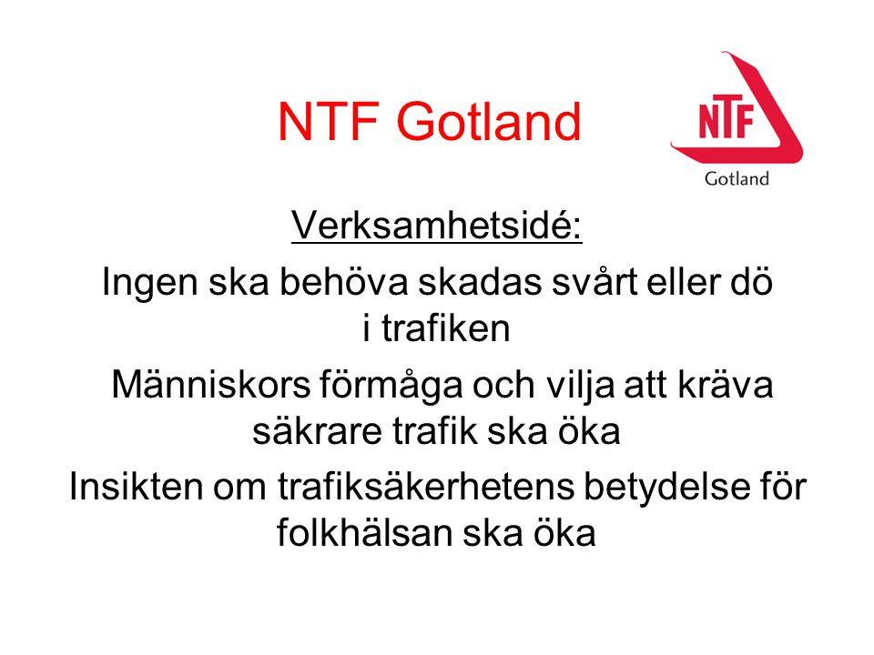 NTF Gotland Verksamhetsidé: Ingen ska behöva skadas svårt eller dö i trafiken Människors förmåga och vilja att kräva säkrare trafik ska öka Insikten om trafiksäkerhetens betydelse för folkhälsan ska öka