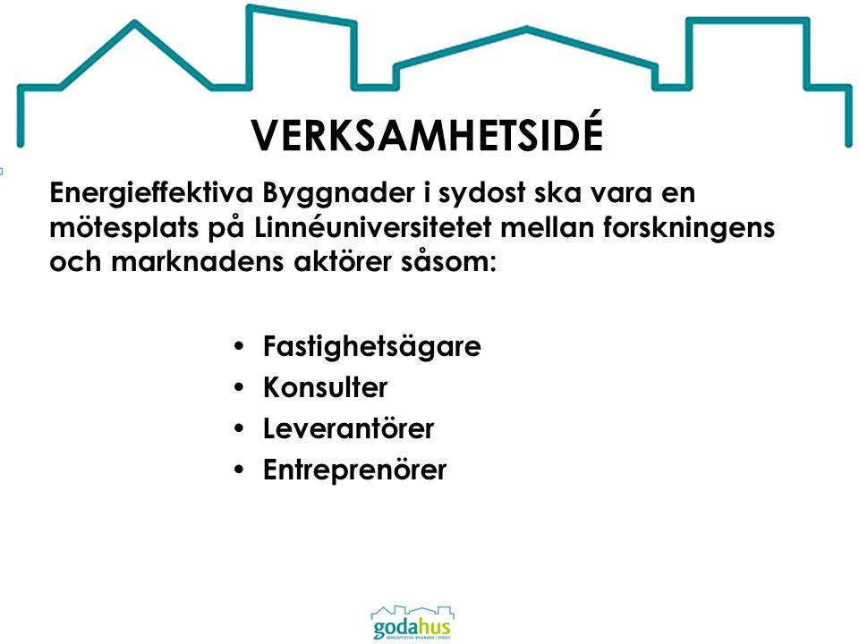 VERKSAMHETSIDÉ Energieffektiva Byggnader i sydost ska vara en mötesplats på Linnéuniversitetet mellan forskningens och marknadens aktörer såsom: Fasti