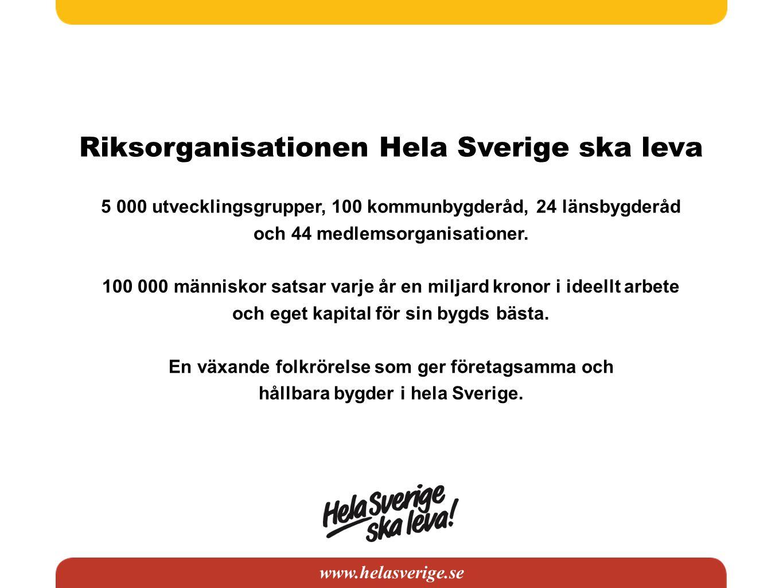 Riksorganisationen Hela Sverige ska leva 5 000 utvecklingsgrupper, 100 kommunbygderåd, 24 länsbygderåd och 44 medlemsorganisationer. 100 000 människor