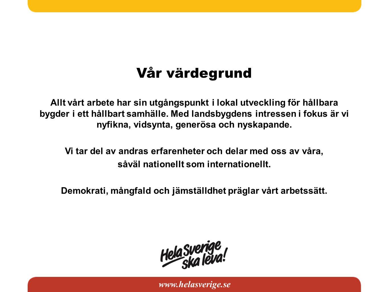 www.helasverige.se Vår värdegrund Allt vårt arbete har sin utgångspunkt i lokal utveckling för hållbara bygder i ett hållbart samhälle. Med landsbygde