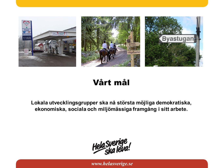 www.helasverige.se Vårt mål Lokala utvecklingsgrupper ska nå största möjliga demokratiska, ekonomiska, sociala och miljömässiga framgång i sitt arbete
