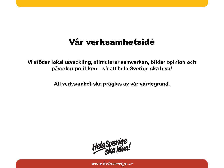 www.helasverige.se Vår verksamhetsidé Vi stöder lokal utveckling, stimulerar samverkan, bildar opinion och påverkar politiken – så att hela Sverige ska leva.
