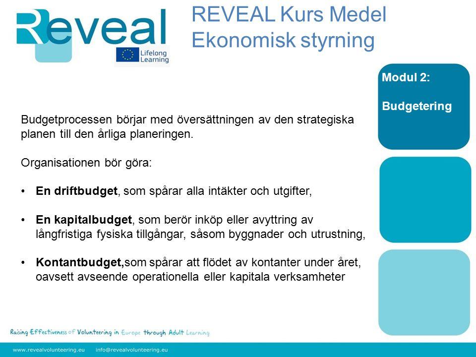 Modul 2: Budgetering Budgetprocessen börjar med översättningen av den strategiska planen till den årliga planeringen. Organisationen bör göra: En drif