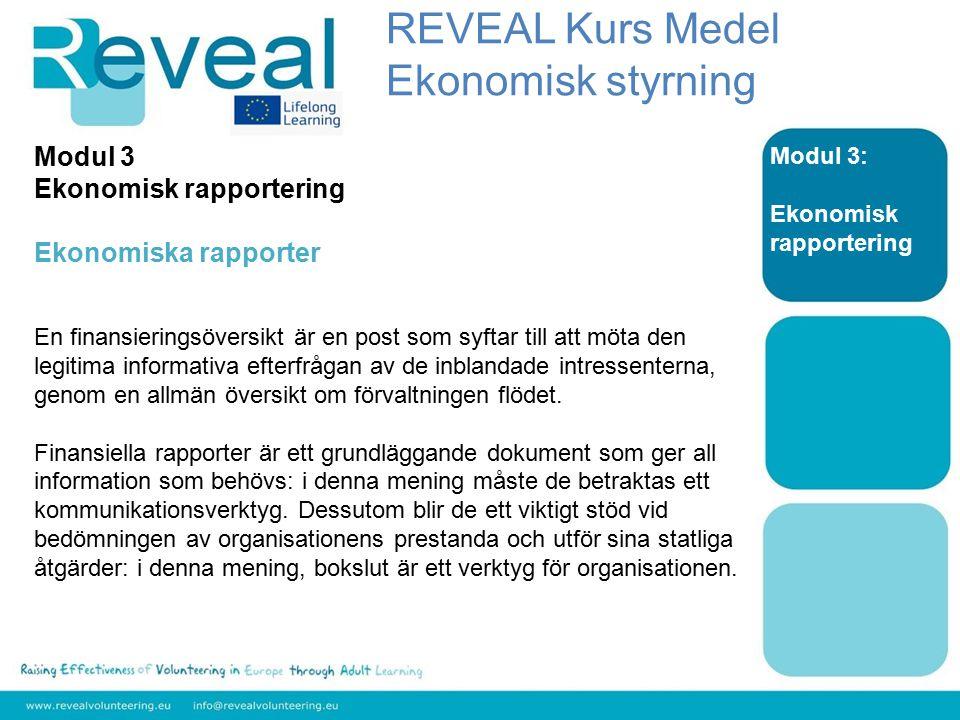 Modul 3: Ekonomisk rapportering Modul 3 Ekonomisk rapportering Ekonomiska rapporter En finansieringsöversikt är en post som syftar till att möta den legitima informativa efterfrågan av de inblandade intressenterna, genom en allmän översikt om förvaltningen flödet.