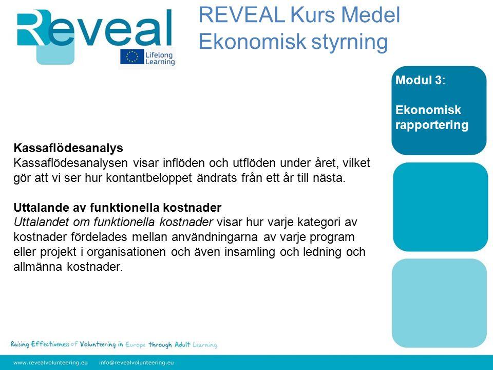 Modul 3: Ekonomisk rapportering Kassaflödesanalys Kassaflödesanalysen visar inflöden och utflöden under året, vilket gör att vi ser hur kontantbeloppe