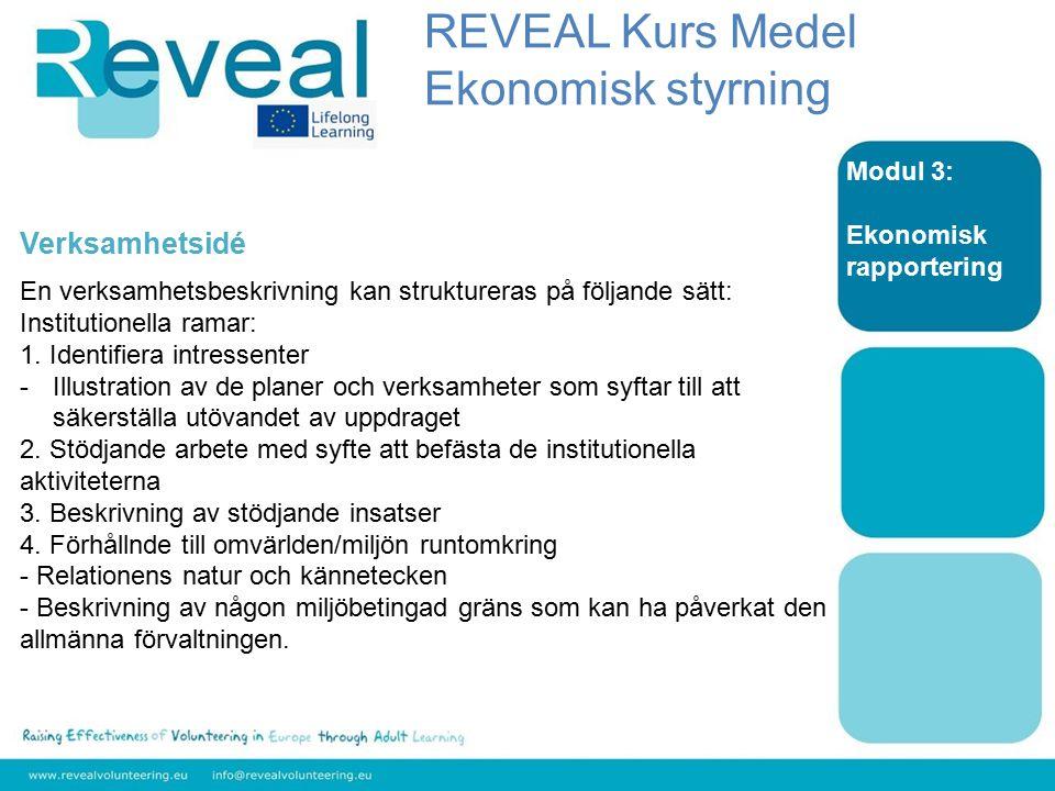 Modul 3: Ekonomisk rapportering Verksamhetsidé En verksamhetsbeskrivning kan struktureras på följande sätt: Institutionella ramar: 1.