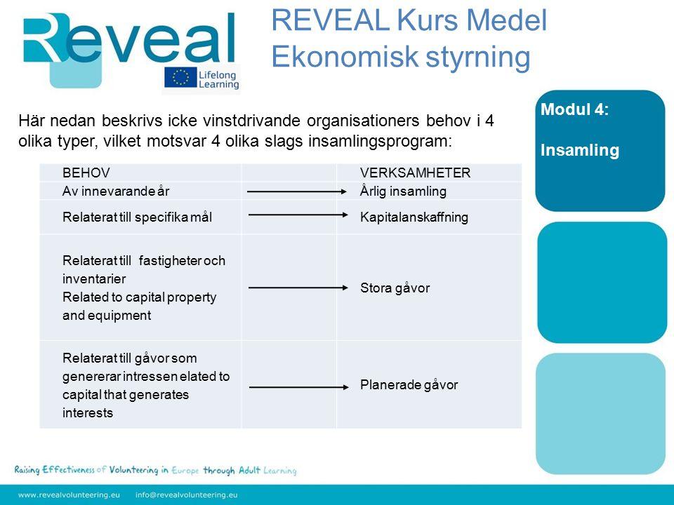 Modul 4: Insamling Här nedan beskrivs icke vinstdrivande organisationers behov i 4 olika typer, vilket motsvar 4 olika slags insamlingsprogram: REVEAL