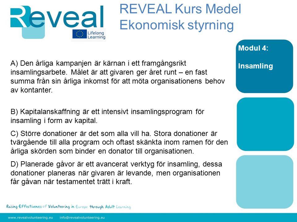 Modul 4: Insamling A) Den årliga kampanjen är kärnan i ett framgångsrikt insamlingsarbete. Målet är att givaren ger året runt – en fast summa från sin