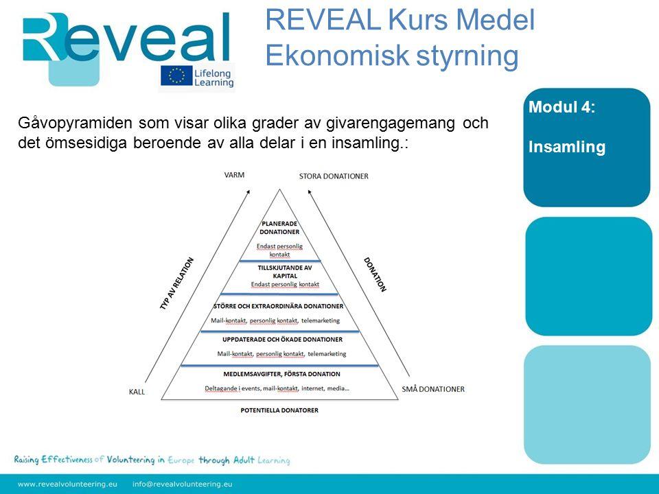 Modul 4: Insamling Gåvopyramiden som visar olika grader av givarengagemang och det ömsesidiga beroende av alla delar i en insamling.: REVEAL Kurs Medel Ekonomisk styrning