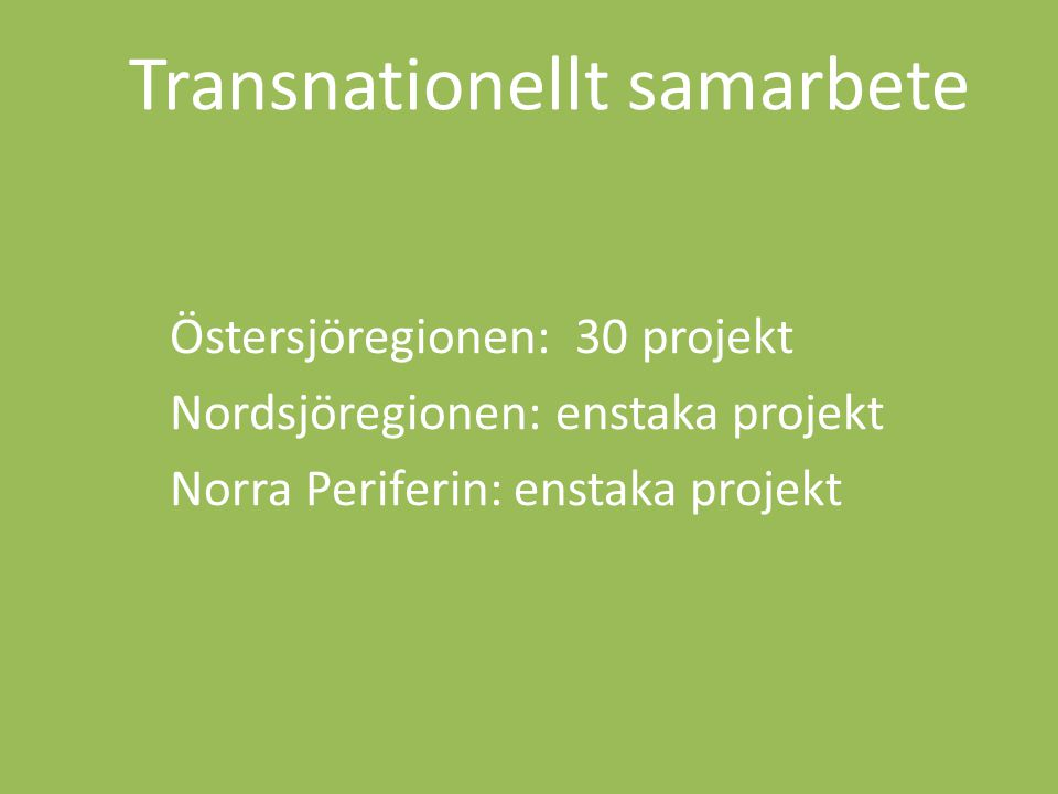 Östersjöregionen: 30 projekt Nordsjöregionen: enstaka projekt Norra Periferin: enstaka projekt Transnationellt samarbete