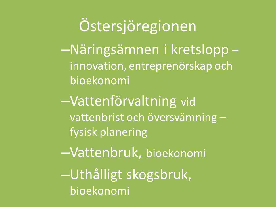 Östersjöregionen – Näringsämnen i kretslopp – innovation, entreprenörskap och bioekonomi – Vattenförvaltning vid vattenbrist och översvämning – fysisk planering – Vattenbruk, bioekonomi – Uthålligt skogsbruk, bioekonomi