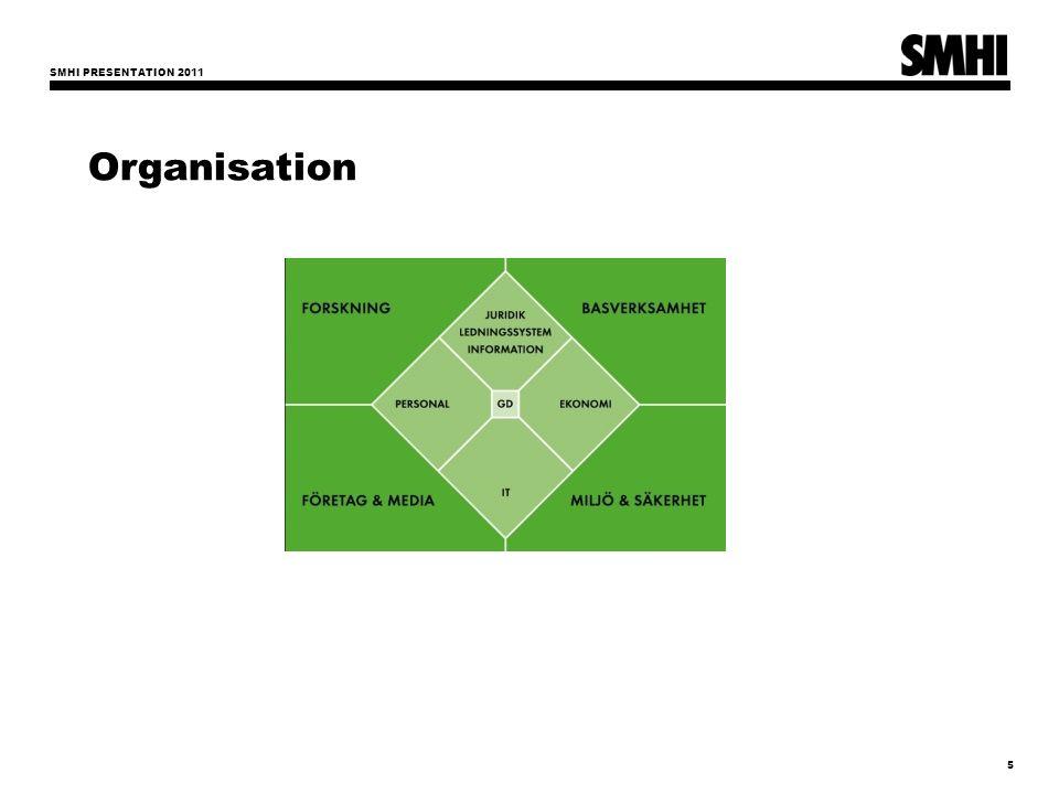 SMHI PRESENTATION 2011 5 Organisation Bas- verksamhet Företag & Media Forskning IT Personal Stf Generaldirektör