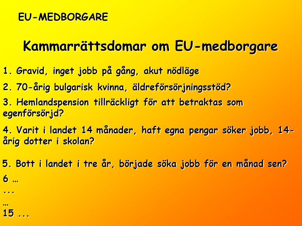 EU-MEDBORGARE Kammarrättsdomar om EU-medborgare 1.