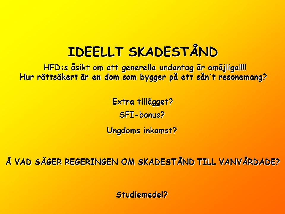 IDEELLT SKADESTÅND Extra tillägget. SFI-bonus. Ungdoms inkomst.