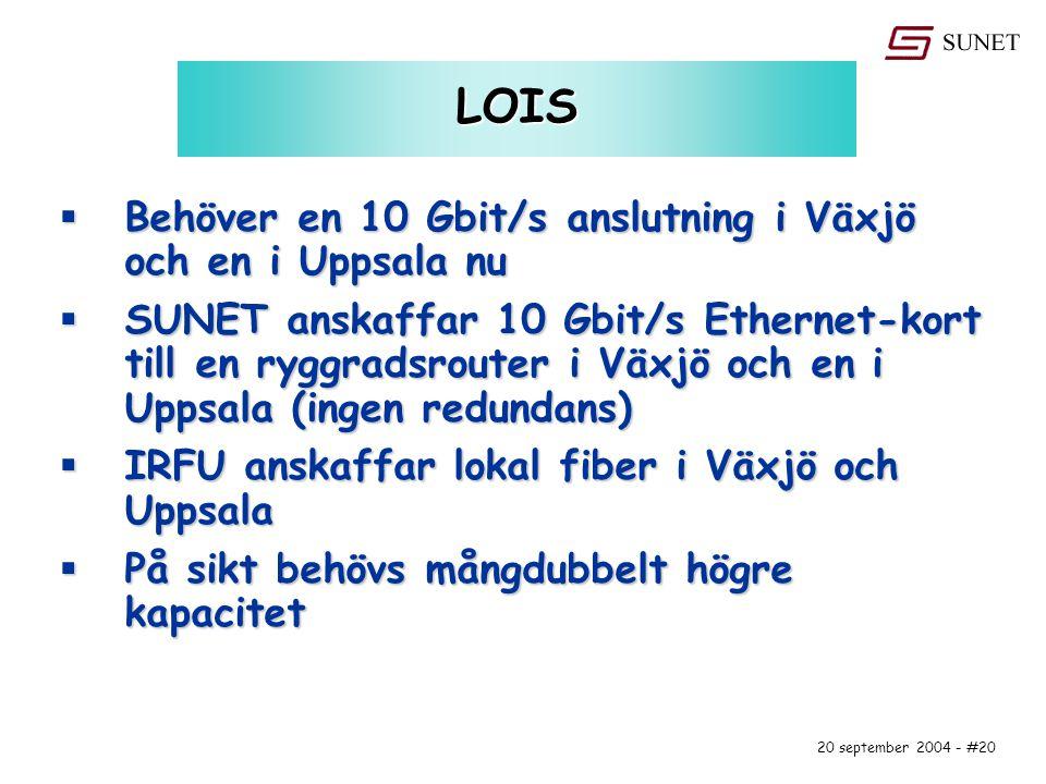 20 september 2004 - #20 LOIS  Behöver en 10 Gbit/s anslutning i Växjö och en i Uppsala nu  SUNET anskaffar 10 Gbit/s Ethernet-kort till en ryggradsrouter i Växjö och en i Uppsala (ingen redundans)  IRFU anskaffar lokal fiber i Växjö och Uppsala  På sikt behövs mångdubbelt högre kapacitet