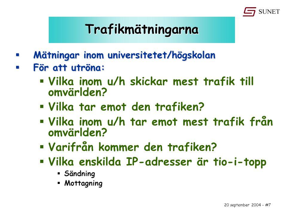 20 september 2004 - #7 Trafikmätningarna  Mätningar inom universitetet/högskolan  För att utröna:  Vilka inom u/h skickar mest trafik till omvärlden.