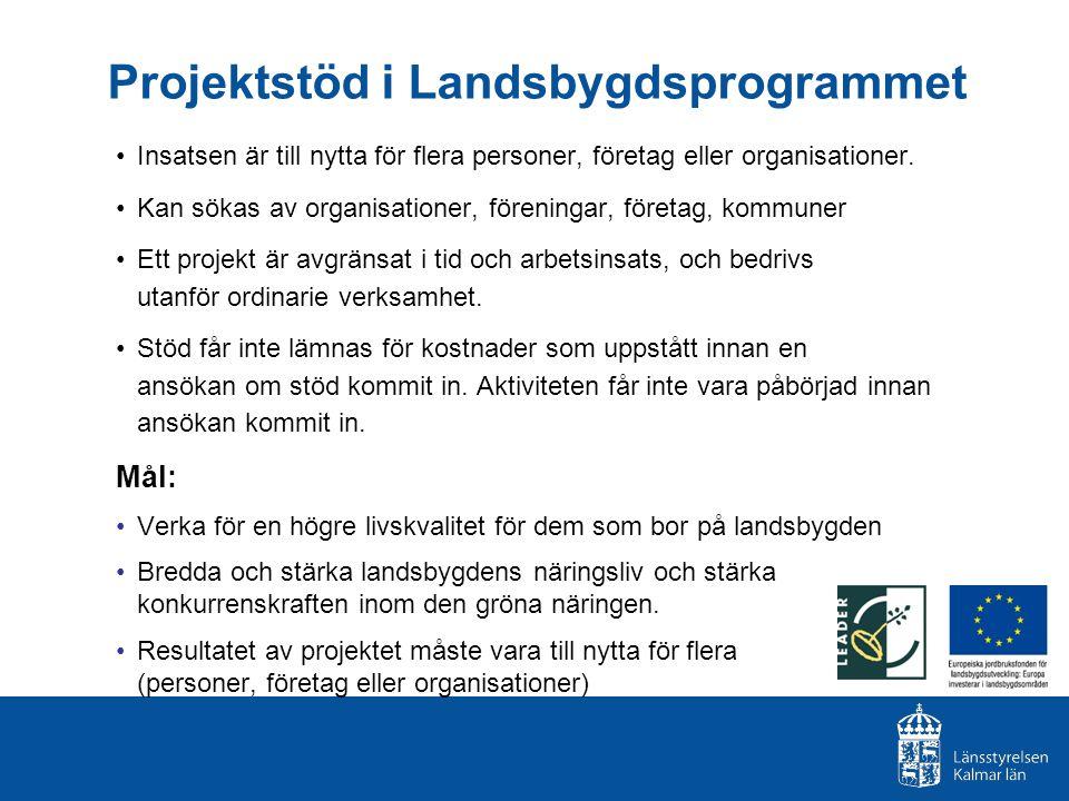 Projektstöd i Landsbygdsprogrammet Insatsen är till nytta för flera personer, företag eller organisationer. Kan sökas av organisationer, föreningar, f