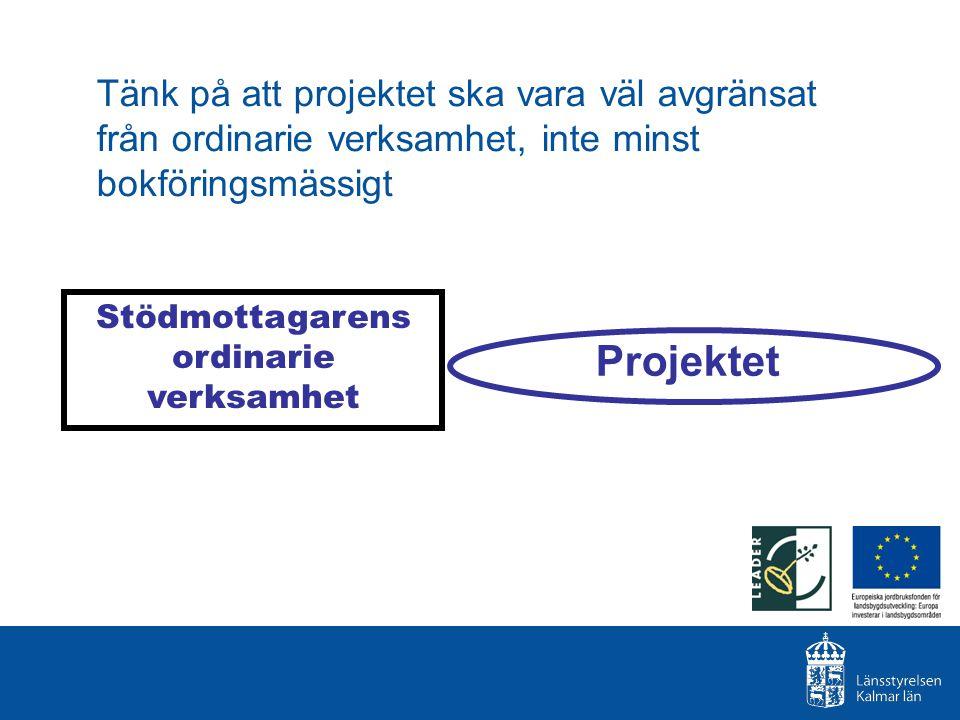 Tänk på att projektet ska vara väl avgränsat från ordinarie verksamhet, inte minst bokföringsmässigt Stödmottagarens ordinarie verksamhet Projektet