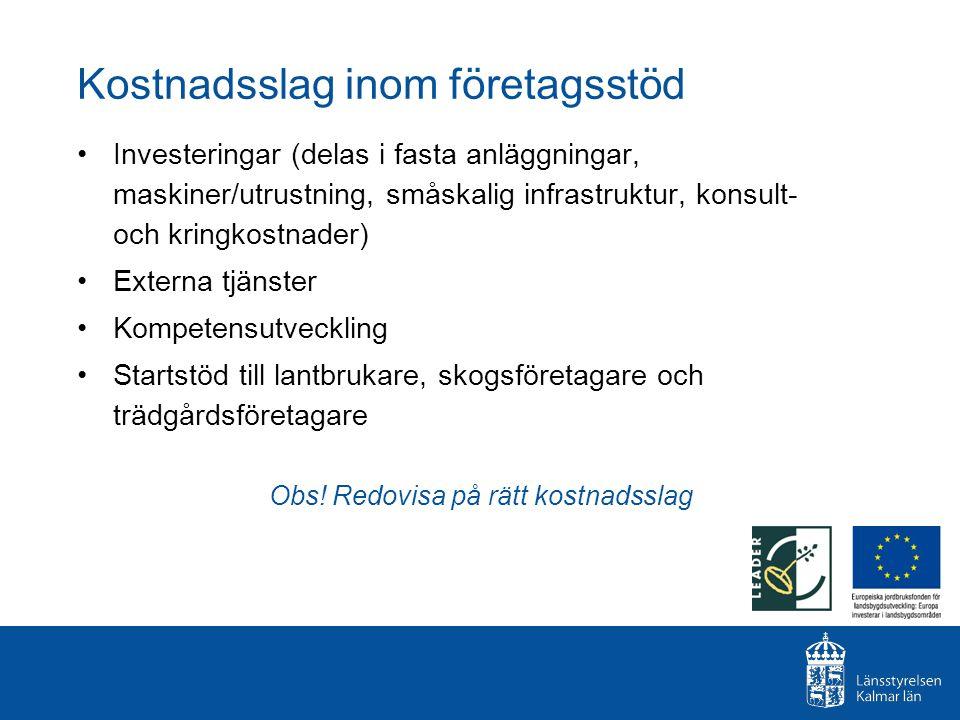 Kostnadsslag inom företagsstöd Investeringar (delas i fasta anläggningar, maskiner/utrustning, småskalig infrastruktur, konsult- och kringkostnader) E