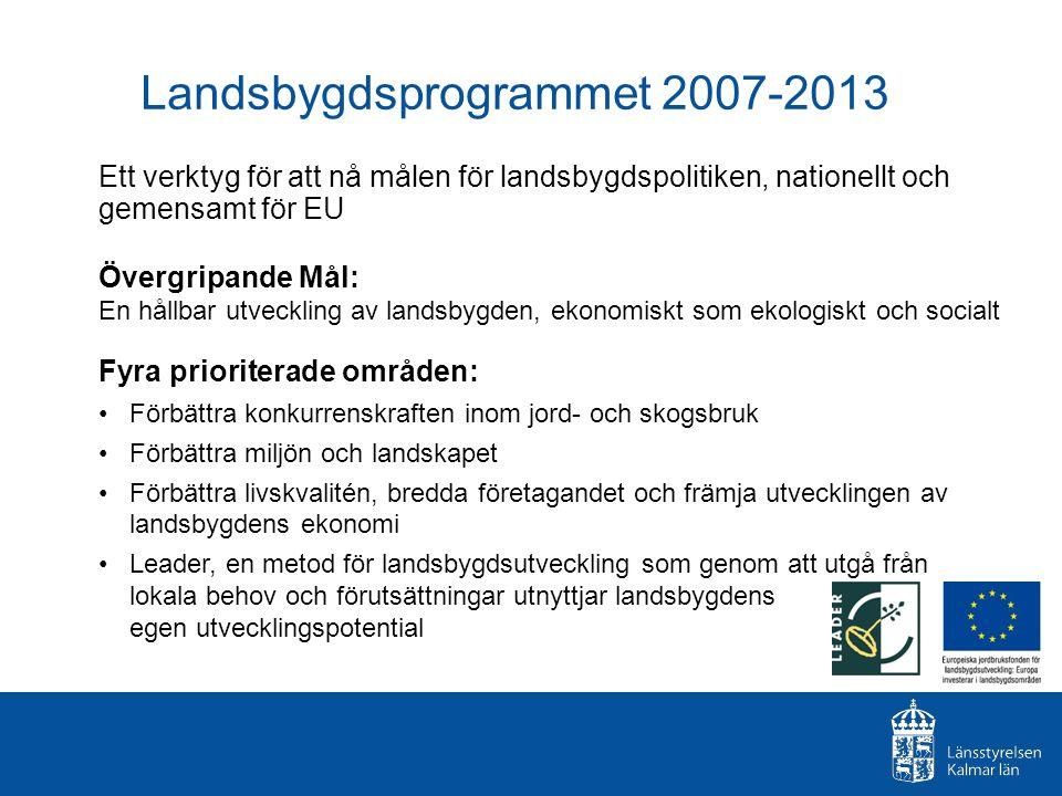 Stödformer Företagsstöd och projektstöd + projektstöd inom Leader Företagsstöd normalt 30 % Projektstöd normalt 20-100 % Leaderprojekt upp till 100 % + ideell tid Pågår i 7 år och har en total budget på ca 36 miljarder Finansieras gemensamt av Sverige och EU.