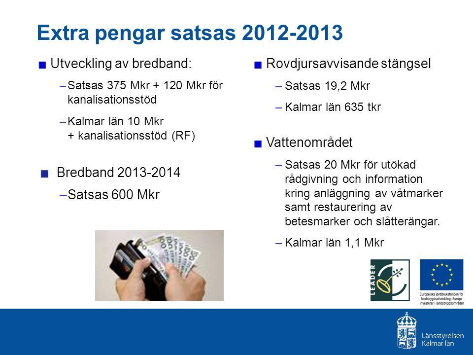 Utveckling av bredband: –Satsas 375 Mkr + 120 Mkr för kanalisationsstöd –Kalmar län 10 Mkr + kanalisationsstöd (RF) Bredband 2013-2014 –Satsas 600 Mkr