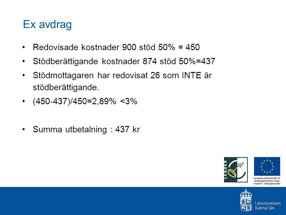 Ex avdrag Redovisade kostnader 900 stöd 50% = 450 Stödberättigande kostnader 874 stöd 50%=437 Stödmottagaren har redovisat 26 som INTE är stödberättig