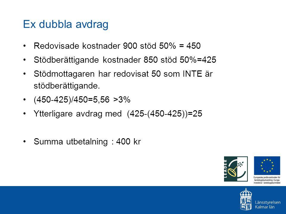 Ex dubbla avdrag Redovisade kostnader 900 stöd 50% = 450 Stödberättigande kostnader 850 stöd 50%=425 Stödmottagaren har redovisat 50 som INTE är stödb