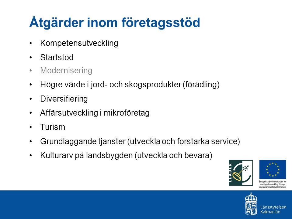 Åtgärder inom företagsstöd Kompetensutveckling Startstöd Modernisering Högre värde i jord- och skogsprodukter (förädling) Diversifiering Affärsutveckl