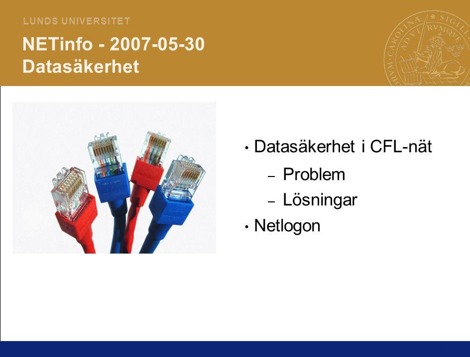 1 L U N D S U N I V E R S I T E T NETinfo - 2007-05-30 Datasäkerhet Datasäkerhet i CFL-nät – Problem – Lösningar Netlogon