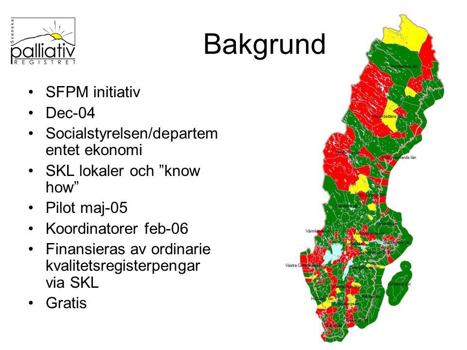 Utveckling 18 910 dödsfall 185 kommuner visat intresse – 131 har skickat data 1097 enheter Årskonferens april Baskurs hösten Lokala/regionala träffar i landsting och/eller kommuner