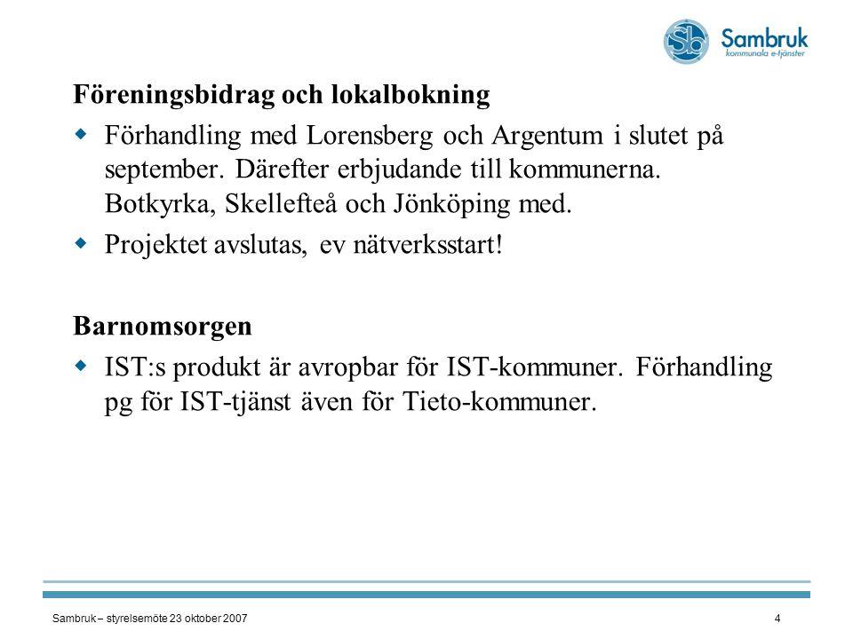 Sambruk – styrelsemöte 23 oktober 20074 Föreningsbidrag och lokalbokning  Förhandling med Lorensberg och Argentum i slutet på september.