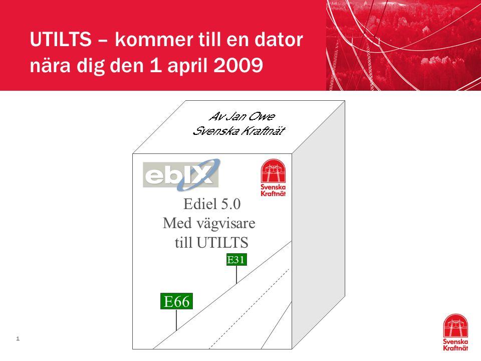 1 UTILTS – kommer till en dator nära dig den 1 april 2009 Ediel 5.0 Med vägvisare till UTILTS E66 E31