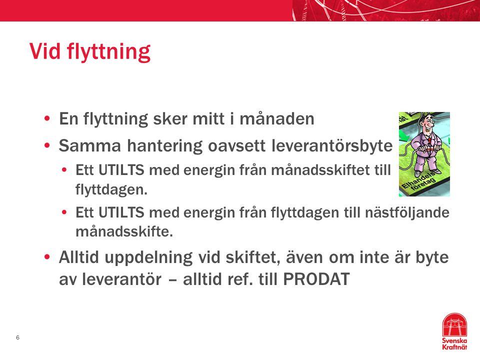 6 Vid flyttning En flyttning sker mitt i månaden Samma hantering oavsett leverantörsbyte Ett UTILTS med energin från månadsskiftet till flyttdagen.