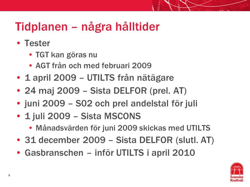 8 Tidplanen – några hålltider Tester TGT kan göras nu AGT från och med februari 2009 1 april 2009 – UTILTS från nätägare 24 maj 2009 – Sista DELFOR (prel.